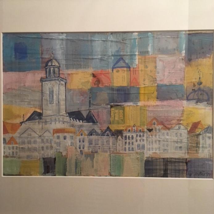 Deze skyline van Deventer op krantenpapier jaren geleden gekocht bij Galerie Bij Floors de Berg op toen ze nog in de Rijkmansstraat zaten, schrijft Janine van Harsselaar