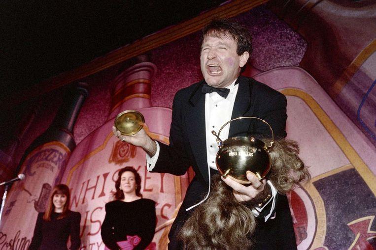 Williams in 1989, nadat hij de Hasty Pudding Theatrical's Man of the Year-award in ontvangst heeft genomen op Harvard. Beeld afp