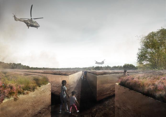 Visualisatie van Loopgraaf voor de Vrede, een van de ontwerpen van Marco Vermeulen voor het project Kunst aan de Groene Corridor.