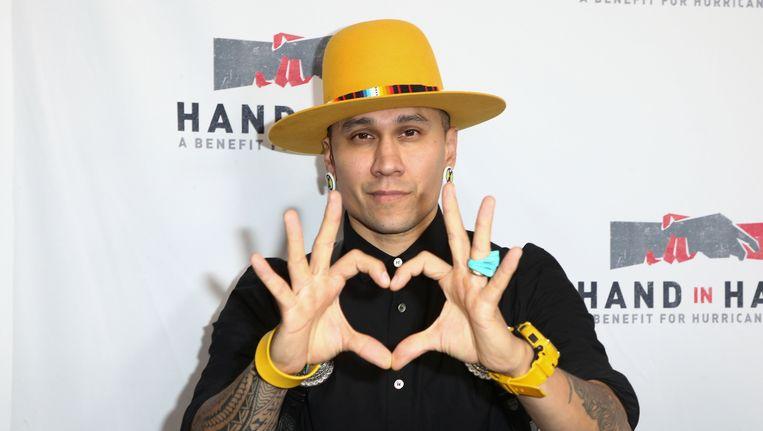 Rapper Taboo, een van de Amerikaanse artiesten die deelnam aan de benefietavond voor de slachtoffers van orkanen Harvey en Irma. Beeld ap
