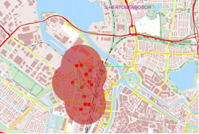 Indicatie van het gebied waar de stroom is uitgevallen.