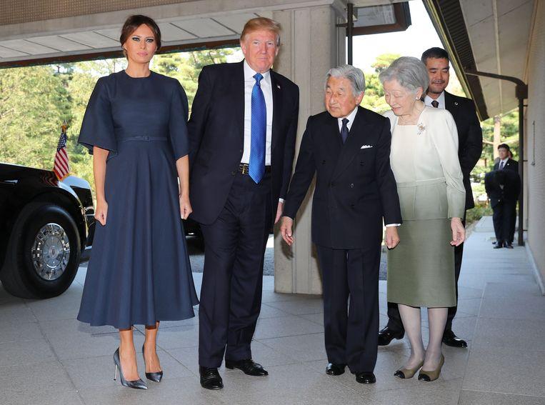 First lady Melania, president Donald Trump, keizer Akihito en keizerin Michiko.