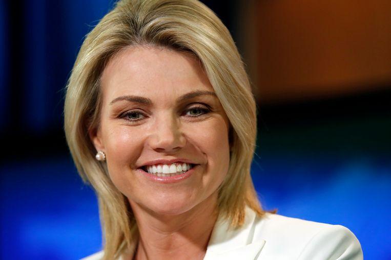 Heather Nauert tijdens een persconferentie van het ministerie van buitenlandse zaken Beeld AP