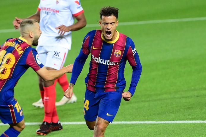 Coutinho met de 1-1 in Camp Nou. De Braziliaan krijgt van Ronald Koeman het vertrouwen.
