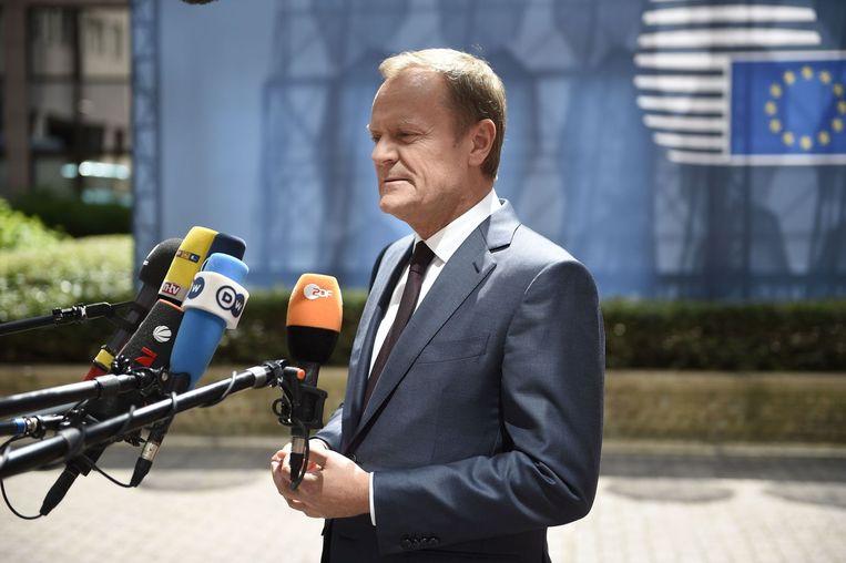 EU-president Donald Tusk bij aankomst in Brussel. Beeld afp