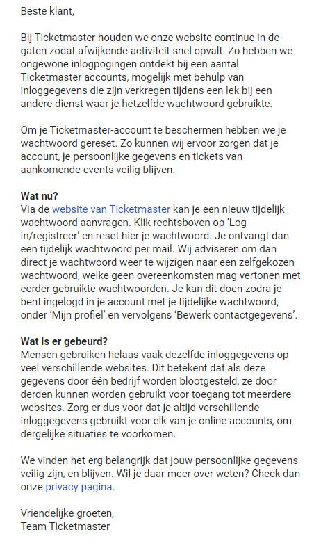 De mail van Ticketmaster.
