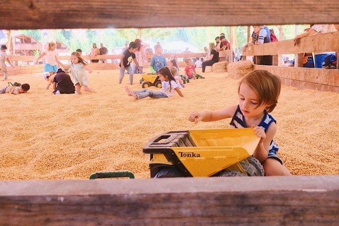 Le bac à grains de maïs du Pumpkin Patch.