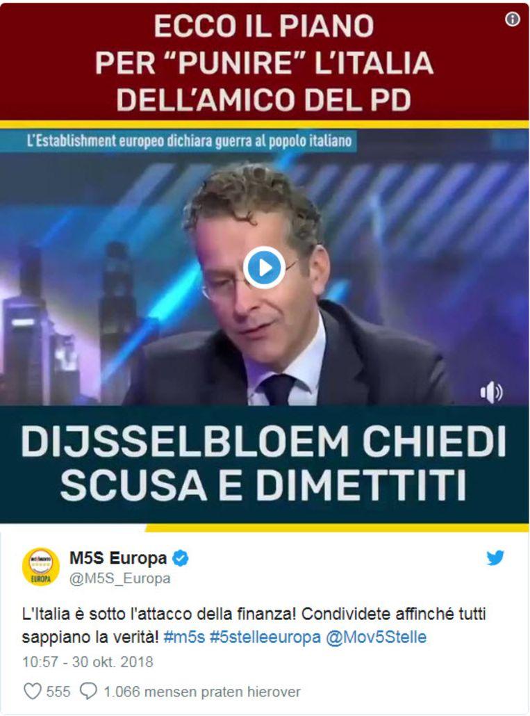 De Italiaanse regeringspartij de Vijfsterrenbeweging heeft op haar Facebook-pagina een nepnieuwsvideo geplaatst waarin voormalig Eurogroep-voorzitter Jeroen Dijsselbloem zogenaamd oproept tot een 'financiële aanval' op Italië. Beeld Twitter
