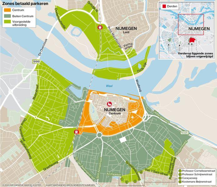 De gebieden in Nijmegen-Nood, -West en -Oost waar de gemeente van plan is betaald parkeren in te voeren.