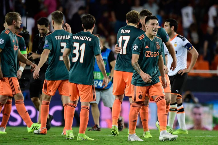 Ajax-spelers vieren de overwinning op Valencia. Rechts Lisandro Martinez. Beeld AFP