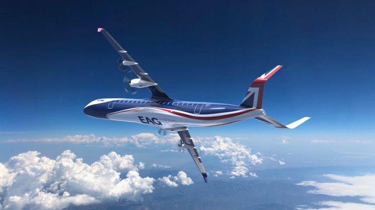 De Britse Electric Aviation Group wil in 2024 proefvliegen met een hybride toestel voor zeventig passagiers. Vier jaar later moeten we ermee naar Barcelona kunnen (zie kader onderaan dit artikel). Beeld EAG