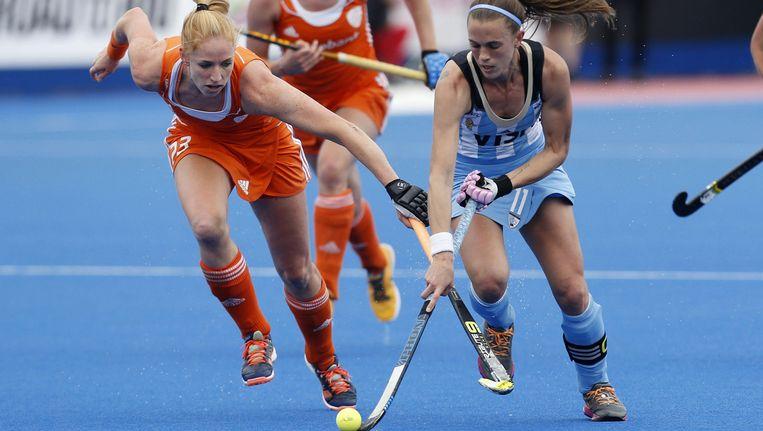 De Nederlandse vrouwen verliezen opnieuw in de finale van Argentinië. Beeld ap