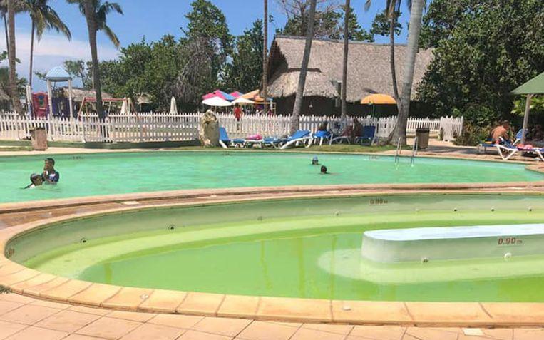 Het zwembad was groenig, in plaats van blauw zoals in de brochure.