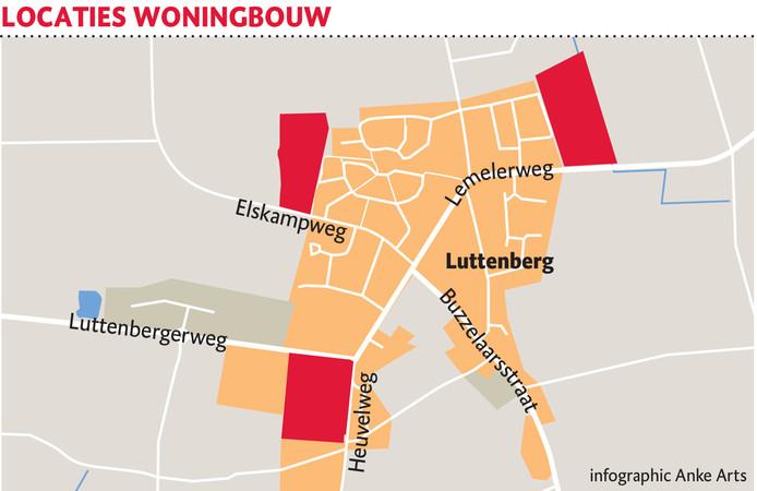 Een van deze drie locaties wordt volgens de plannen aangewezen voor de bouw van nieuwe woningen in Luttenberg. Inwoners mogen daarover meepraten.