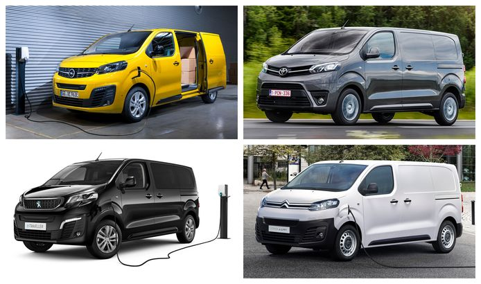 Met de klok mee: de Opel Vivaro-e, de Toyota Proace, de Citroën e-Jumpy en de Peugeot e-Expert