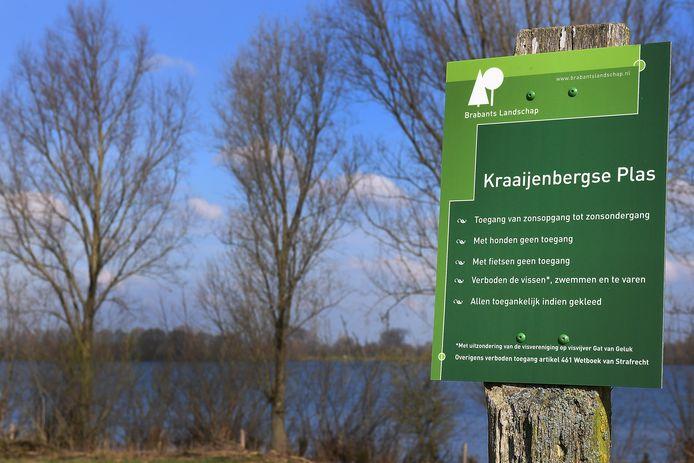 Het bord bij de Kraaijenbergse Plassen.