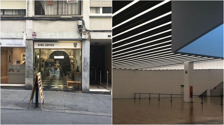 Links Syra Coffee, rechts het Museu d'Art Contemporani.