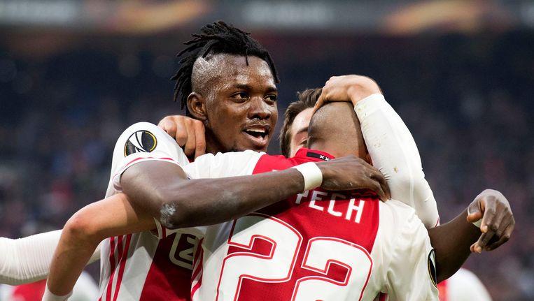 Ajax wint met 4-1 in de halve finale van de Europa League van Olympique Lyon Beeld ANP