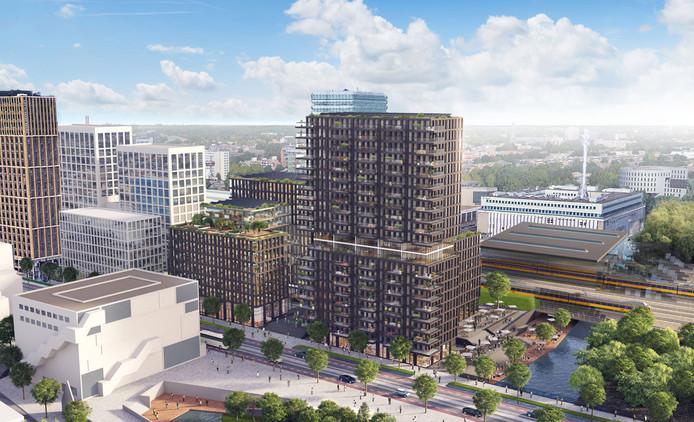 Zo zou het kantoorgebouw Edge van Edge Technologies/OVG Real Estate eruit kunnen komen te zien. Op de voorgrond de Stationsweg met de Effenaar en rechts de Dommel. De witte gebouwen links zijn onderdeel van de ontwikkeling Lichthoven. Tot nog toe is daarvan alleen The Student Hotel (links) aan het Stationsplein ontwikkeld.