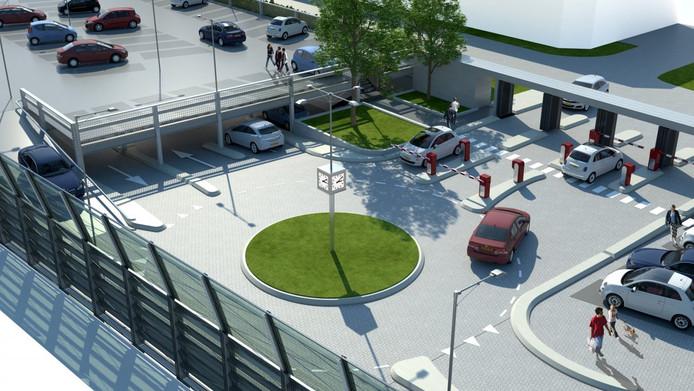 Impressie van de nieuw te bouwen parkeergarage aan de Maijweg in Den Bosch.