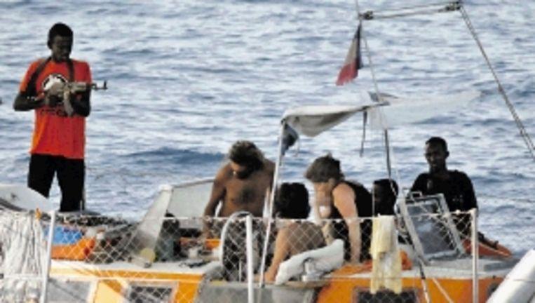 Drie Somalische kapers van een Frans jacht werden gearresteerd. (FOTO AFP) Beeld AFP