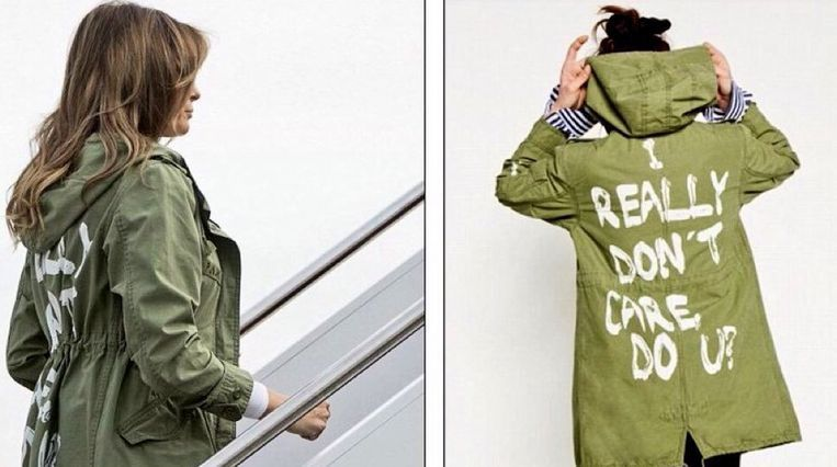Melania Trump droeg deze jas toen ze op het vliegtuig stapte in Maryland.