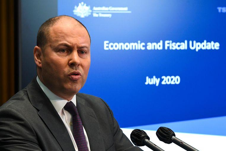 De Australische minister van Financiën Josh Frydenberg wil dat grote techbedrijven gaan betalen voor het overnemen van nieuwsberichten. Beeld AP