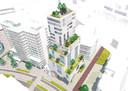 Hoogbouw in Eindhoven: Het idee van Rehoma om toren De Nieuwe Eindhoven op poten te zetten op de hoek Vestdijk/Raiffeisenstraat.