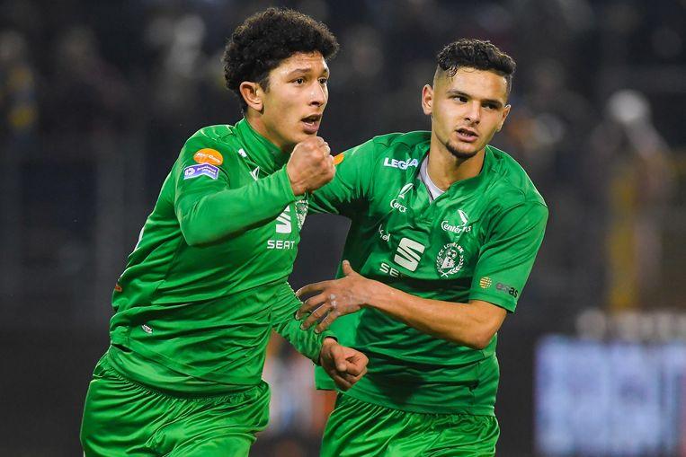 Jamal Aabbou (l.) scoorde voor Lommel.