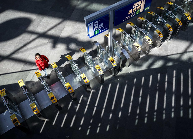 Een leeg perron op station Den Haag Centraal.  Beeld ANP