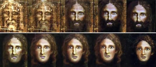 Een door de politie van Rome vrijgegeven beeld. Met de hulp van moderne forensische computertechnieken is gepoogd het gezicht van een jonge Jezus te reconstrueren uit de lijkwade van Turijn