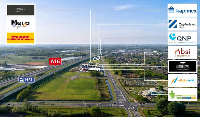 Tien bedrijven staan er inmiddels ingetekend op de meest recente foto die de gemeente Breda geplaatst heeft over het Rithmeesterpark.