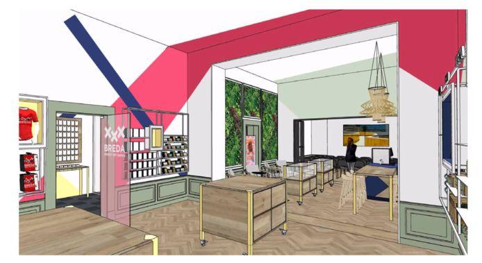 Een artist impression van de inrichting van de Stadsambassade die de VVV-winkel in Breda gaat vervangen. In de inrichting zijn de drie kruizen van het logo van Breda grafisch verwerkt zodat ze drie ruimtes verbinden.