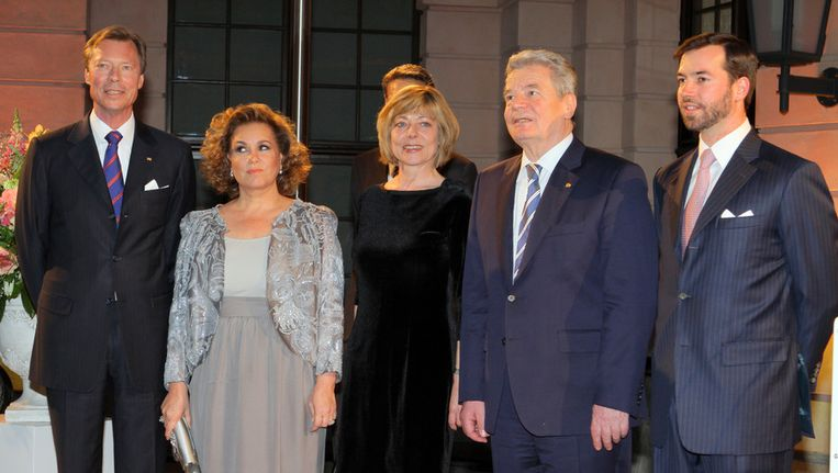 Groothertog Henri van Luxemburg, groothertogin Maria Theresa, Daniela Schadt, de Duitse president Joachim Gauck en erfopvolger Guillaume.