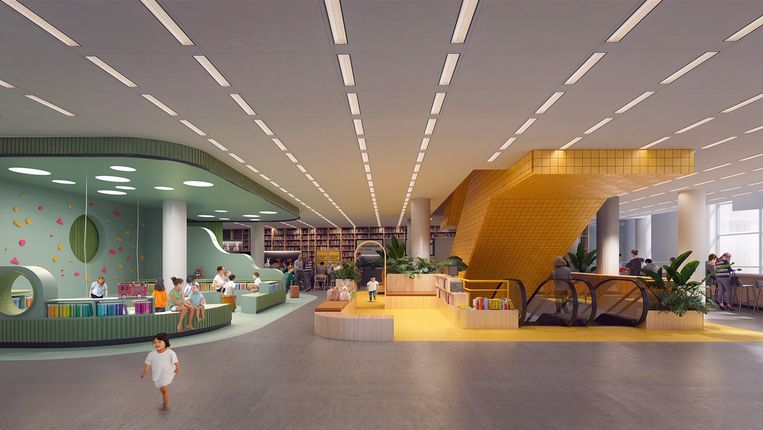 Impressie van de verbouwde jeugdafdeling van de Centrale Bibliotheek in Den Haag door Mecanoo Architecten.  Beeld Mecanoo Architecten