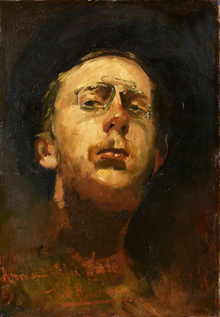 George Hendrik Breitner (1857-1923), Zelfportret met lorgnet, ca. 1892. Beeld Kunstmuseum Den Haag