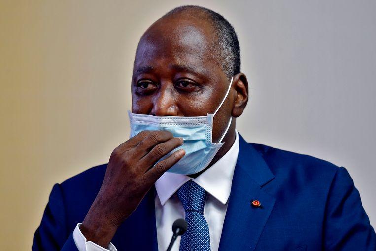 Amadou Gon Coulibaly tijdens een toespraak op 2 juli. Beeld AFP