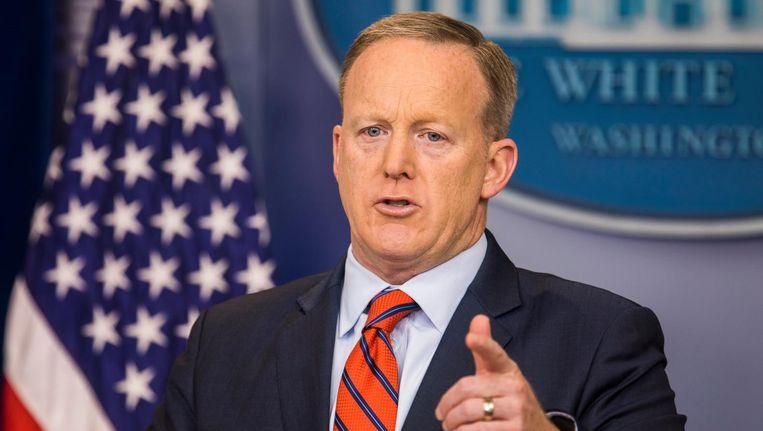 Sean Spicer, de woordvoerder van Donald Trump. Beeld epa