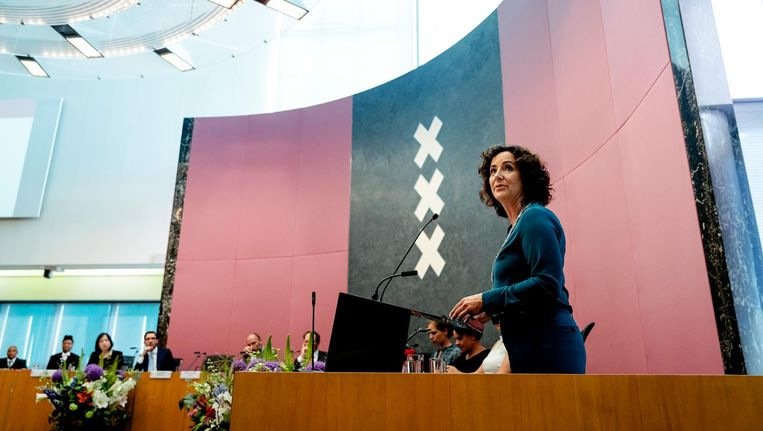 Femke Halsema tijdens haar beediging als burgemeester van Amsterdam Beeld anp