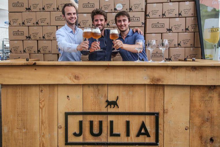 Mathieu Lateur, Emmanuel Claerbout en Thibaut Lateur van The Belgium Brew Brothers raakten hun volledige voorraad Julia kwijt op dag 1.