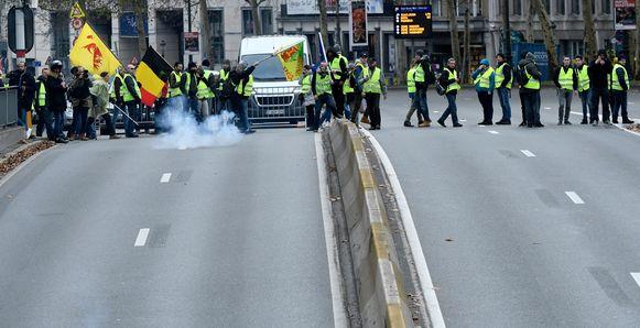 Een betoging van de gele hesjes in Brussel. Archieffoto.