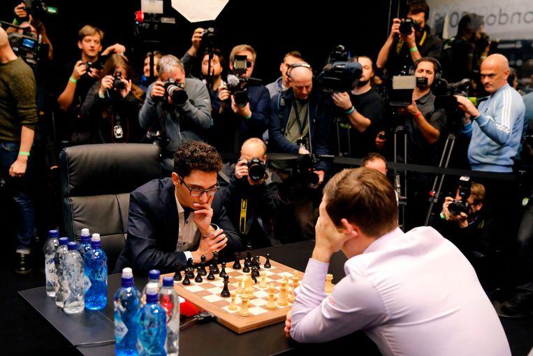 Magnus Carlsen in actie. Beeld AFP