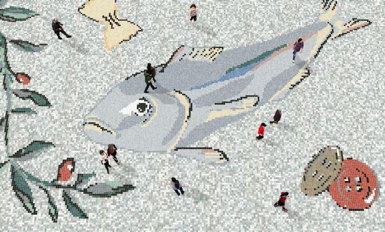 Ontwerpschets van het mozaïek op het Vredenburg. Beeld