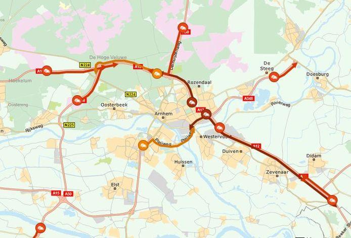 Files rond Arnhem op 6 december 2019, rond 16.30 uur.