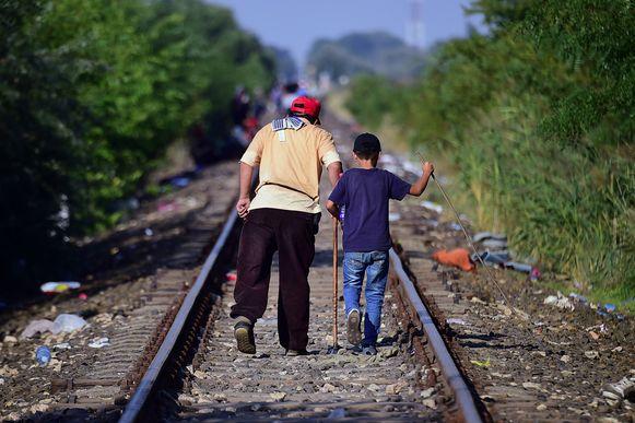 Migranten volgen de spoorweg in de buurt van de Servisch-Hongaarse grens op zoek naar een nieuwe toekomst in Europa.