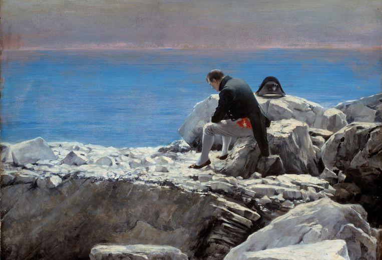 Later in zijn leven zat Napoleon weer vast op een eiland, Sint-Helena, waar hij uiteindelijk overleed. Schilder Oscar Rex (1857-1929) maakte een portret van Napoleon tijdens zijn gevangenschap op dit eiland. Beeld Corbis via Getty Images