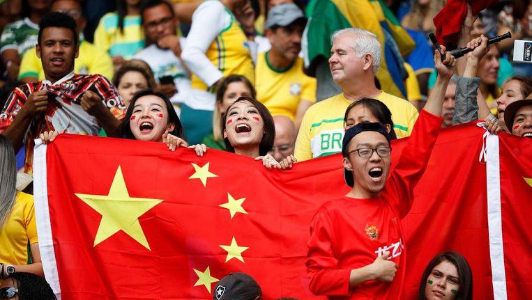 Chinese fans in Rio met een correcte vlag. Beeld null