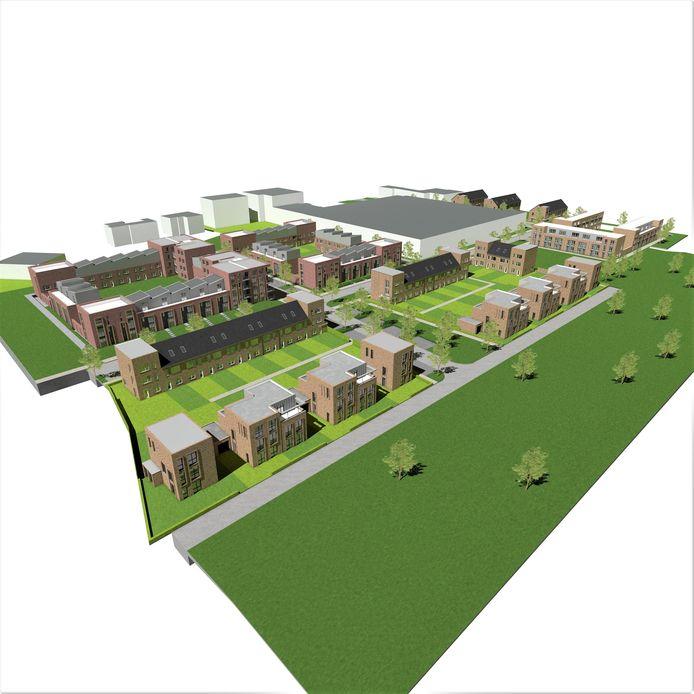 Overzicht van de nieuwbouwwijk op het voormalige BAT-terrein aan de Kerkstraat in Zevenaar.