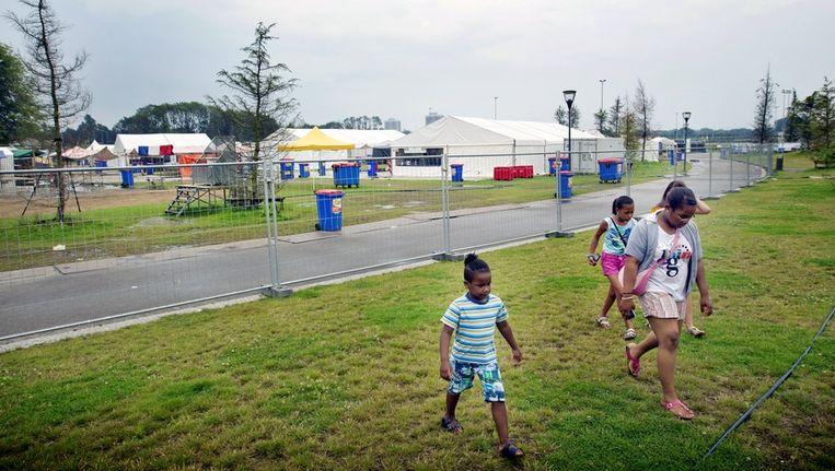 Een leeg terrein van het Zomerfestival, de opvolger van het bekende Kwakoe festival. Foto van gisteren. Beeld anp