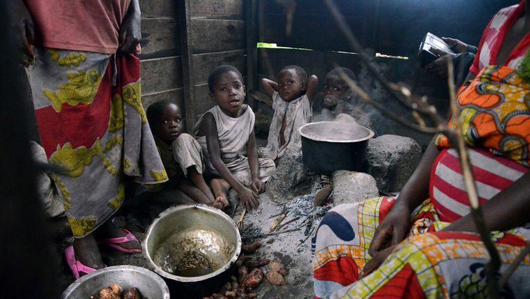 Kinderen in een vluchtelingenkamp in de Democratische Republiek Congo. Beeld AFP